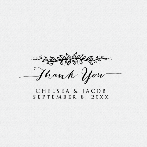 Dress up your wedding favors with this perfect personalized floral Thank You Stamp.  This stamp is available as a self-inking stamp or a rubber stamp.