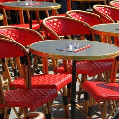 Parisian Cafe Table And Chairs Chair Rental Red Falling Off Bicycles Paris