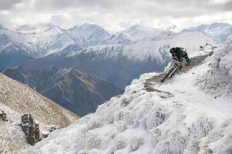 mountain biking action photography winter snow