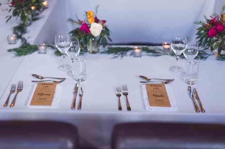 Millbrook Resort winter wedding clubhouse restaurant table settings reception