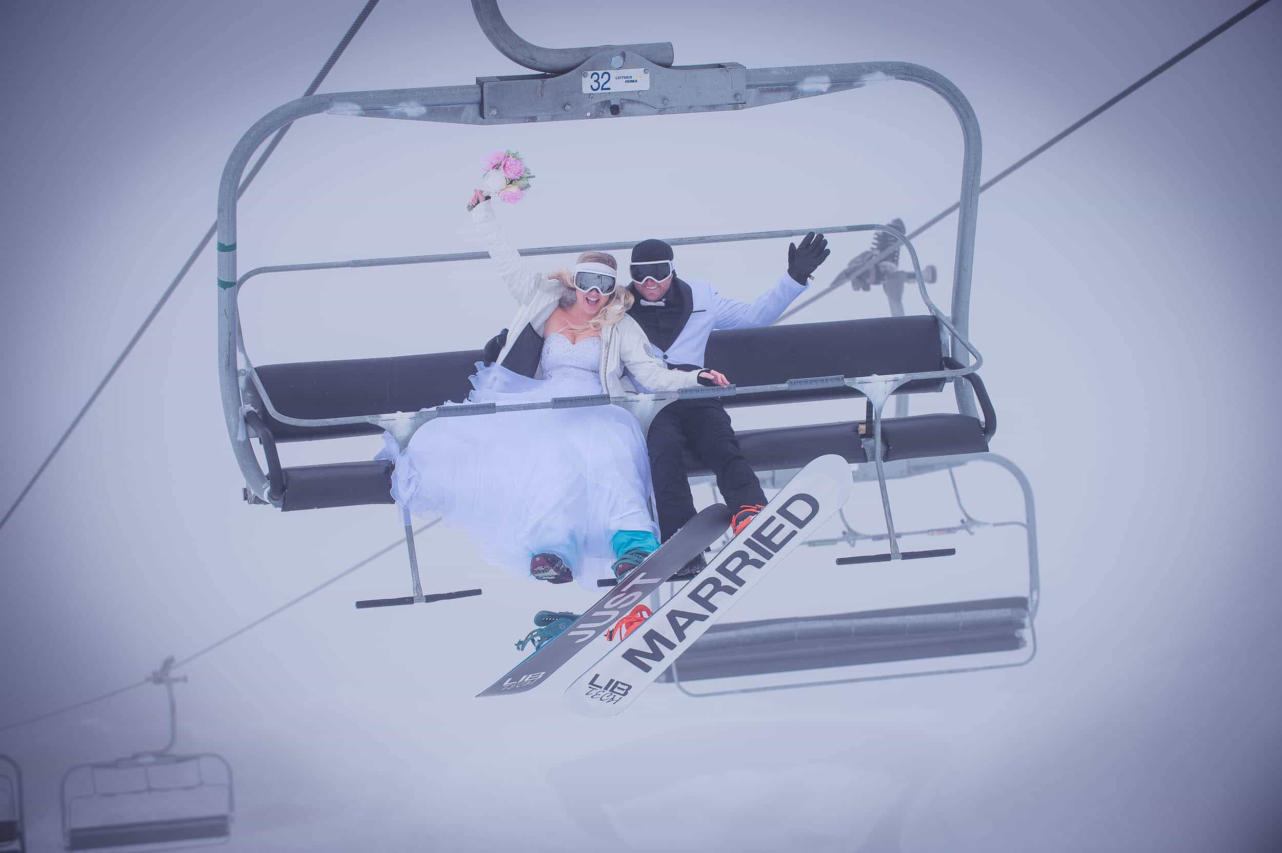Now this is what I call a Queenstown Winter Wedding!! At Coronet Peak...on snowboards...in a snow storm!! fallon photography EPIC Queenstown Winter Wedding