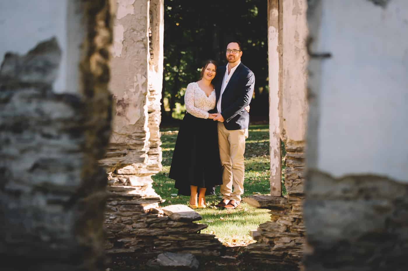 Sam & Kirk's Thurlby Domain Elopement - bride and groom photo autumn colours old ruins