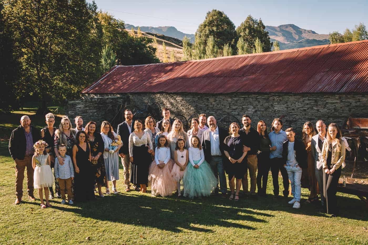 Sam & Kirk's Thurlby Domain Elopement - ceremony in the old stone stables group photo of wedding party