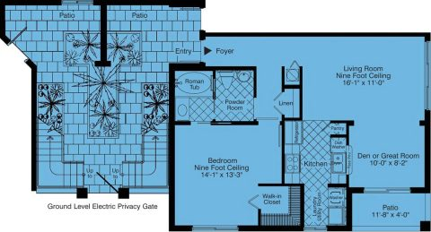 1 Bed / 1 Bath / 865 sq ft / Rent: Call for Details