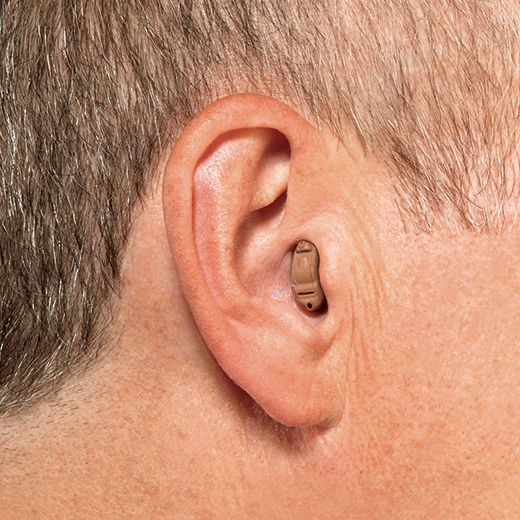 Completely in the canal hearing aid in ear