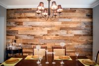 The Hughes' Dining Room Reclaimed Wood Accent Wall | Fama ...
