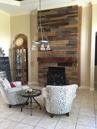 wood wall fireplace