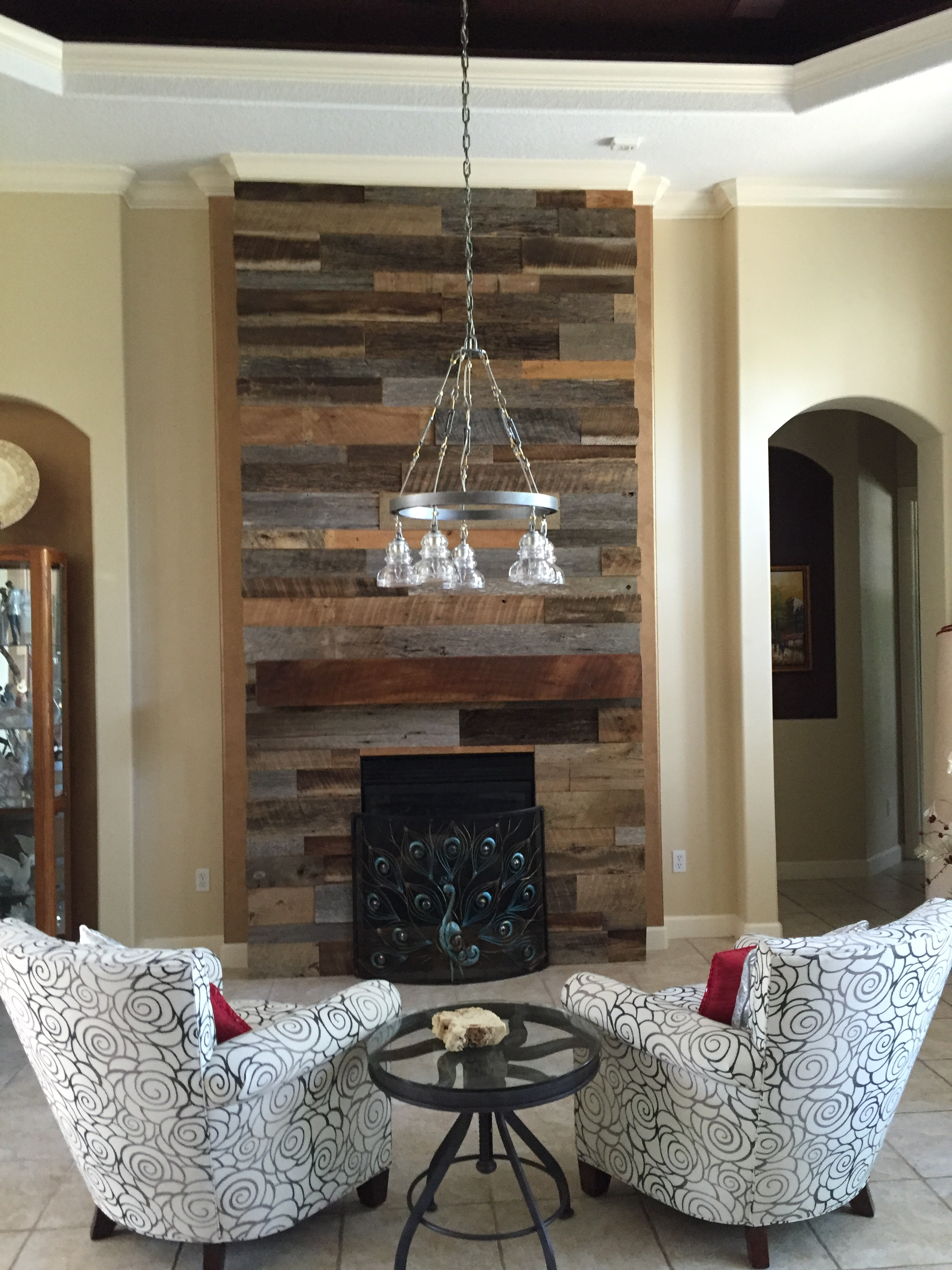 Lynns Reclaimed Wood Accent Wall with Custom Mantle
