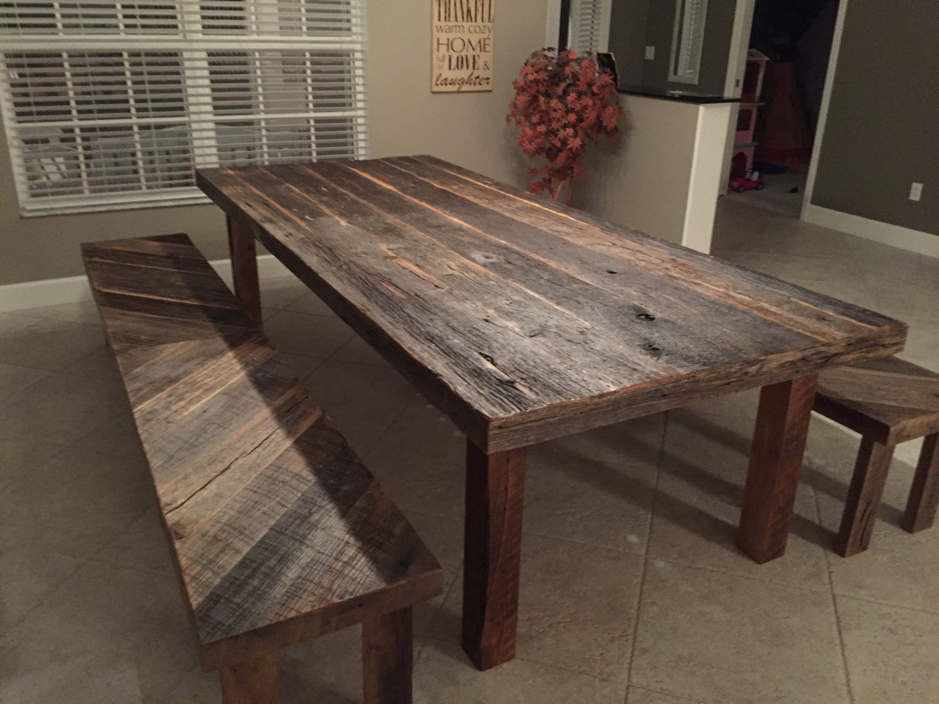 Stacys Rustic Reclaimed Wood Dining Table with Matching