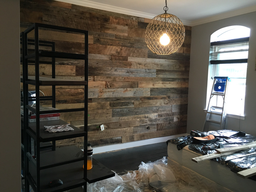 Kristys Master Bedroom Reclaimed Wood Accent Wall  Fama
