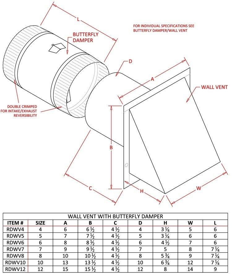 Wall Vent - Reversible Backdraft Damper