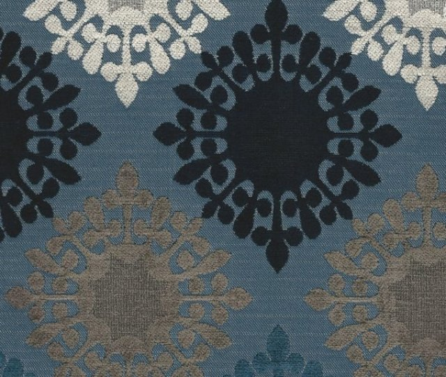 Picture Of Retro Blues Upholstery Fabric