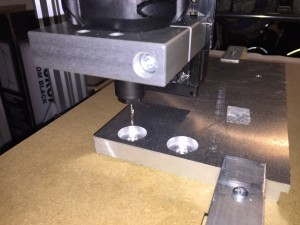 Milling the countersink holes for the M8 bolts of the Z-axis plate