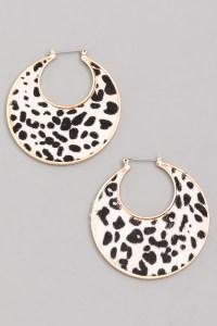 LEOPARD Leopard Print Hoop Earrings