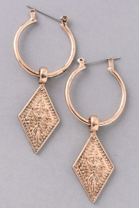 Diamond Engraved Hoop Dangle Earrings.