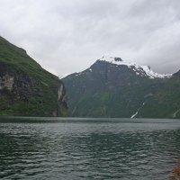 Ausblick aus unserem WoMo auf den Geirangerfjord