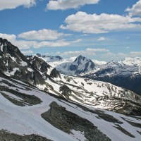 Der Blick aus dem Sessellift oben auf dem Blackcomb Mountain