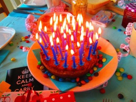Kuchen. Mit Kerzen. Zu vielen.