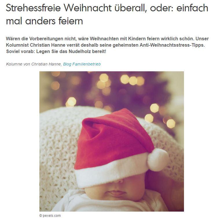 Gastkolumne Scoyo-ELTERN!-Magazin: Strehessfreie Weihnacht überall