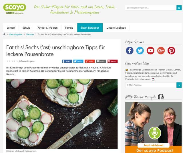 scoyo-Kolumne: Eat this! Sechs (fast) unschlagbare Tipps für leckere Pausenbrote