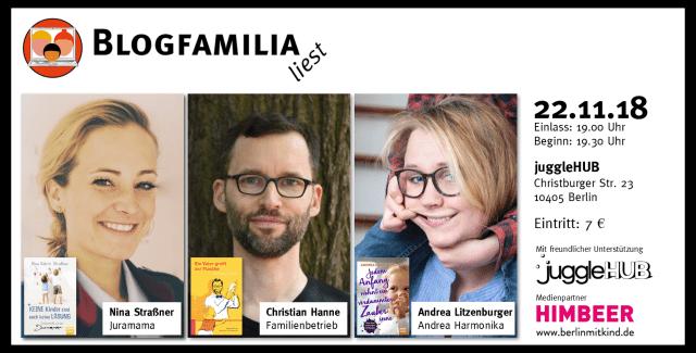 Blogfamilia liest mit Juramama, Andrea Harmonika und Familienbetrieb, 22.11. im juggleHUB