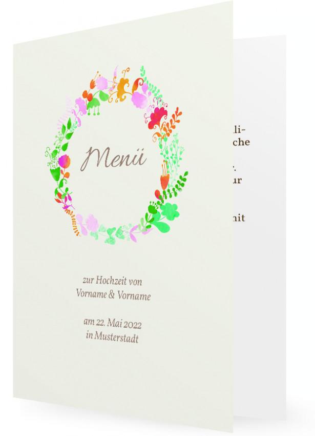 Vorlage Menkarte zur Hochzeit  Familieneinladungende