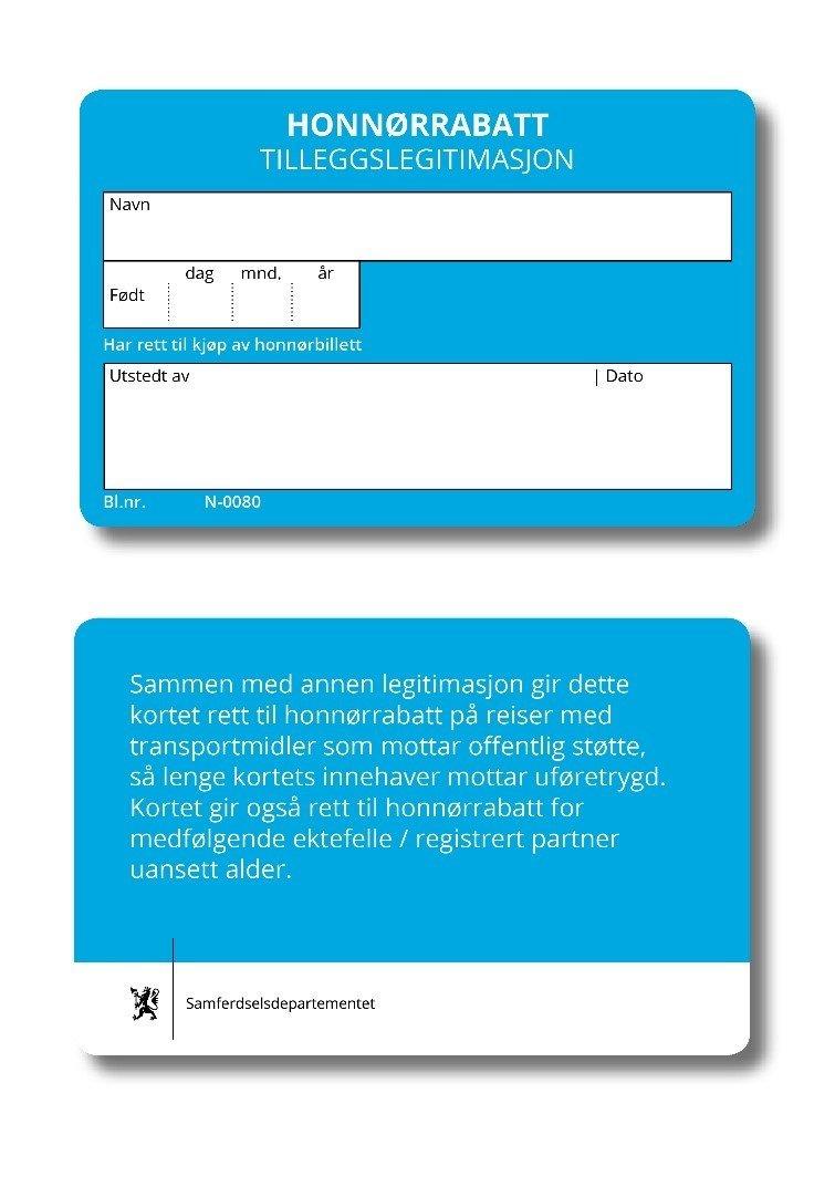 Ledsagerbevis og honnørkort