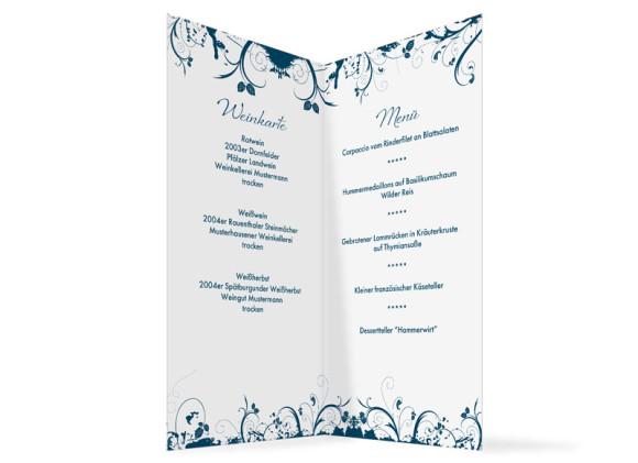 Menkarten zur Hochzeit online gestalten Miami  Speisekarten