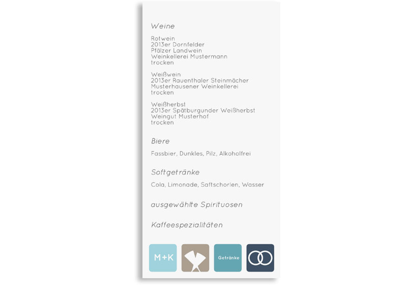 Menkarte zur Hochzeit Kreta  familiensache
