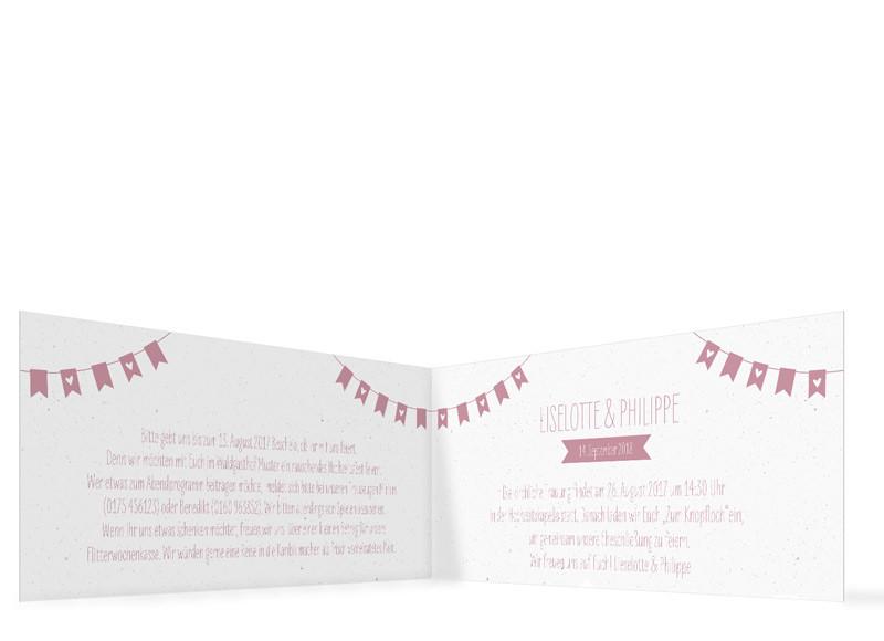 Einladung Hochzeit Wimpelkette  Hipopco
