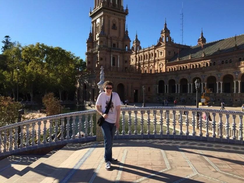La famille nomade digitale à Séville-Plaza Espana
