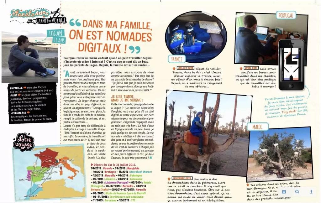 Interview Famille nomade digitale magazine GEOADO