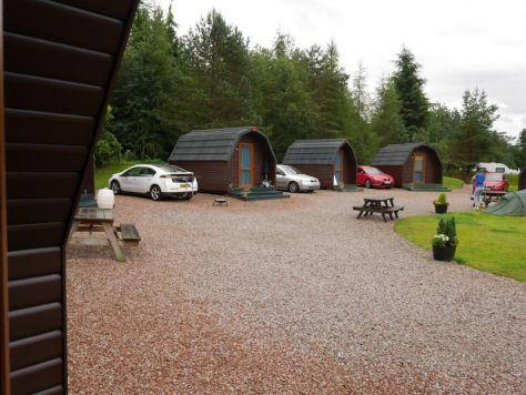 Schottland alleine mit Kindern, Hütte auf dem Campingplatz in Tyndrum