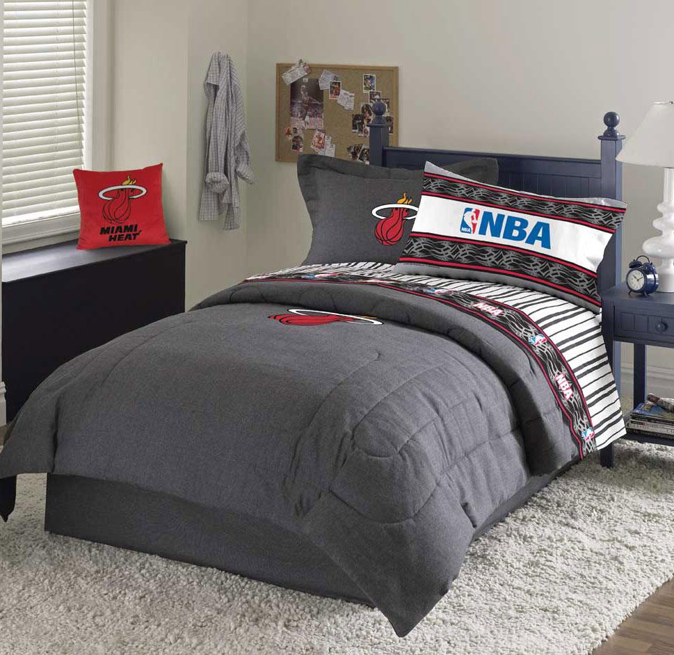 Miami Heat Team Denim Queen Comforter / Sheet Set