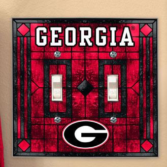 Georgia UGA Bulldogs NCAA College Art Glass Double Light