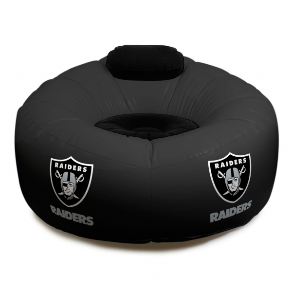oakland raiders chair rattan cushions replacement nfl vinyl inflatable w faux suede