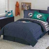 Miami Dolphins NFL Team Denim Queen Comforter / Sheet Set