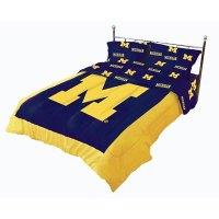 Michigan Wolverines 100% Cotton Sateen Queen Comforter Set