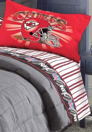 Kansas City Chiefs Queen Size Pinstripe Sheet Set