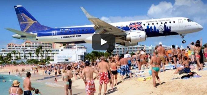 crazy aeroplane beach landing