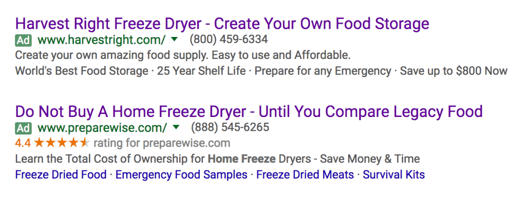 """google search result - ads for """"home freeze drying"""""""