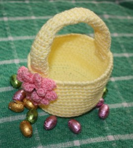 Crocheting Easter Basket with Puff Stitch Flower