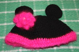 Crochet Minnie Mouse Inspired Pink & Black Beanie Hat
