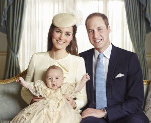 The Duke & Duchess of Cambridge with Prince George st his Christening