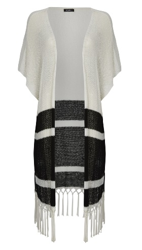 Ivory Black Striped Fringe Cardigan Roman Family Clan