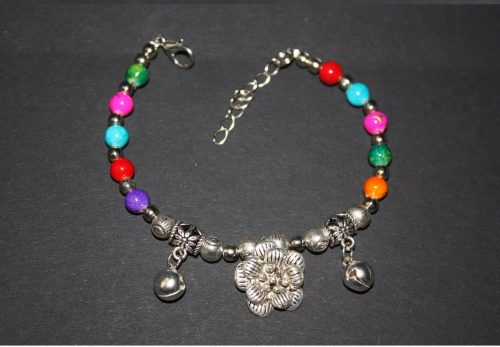 Silver Bead Bangle Bracelet Family Clan
