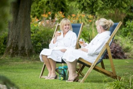 Ragdale Hall outdoor ladies drinking wine outside