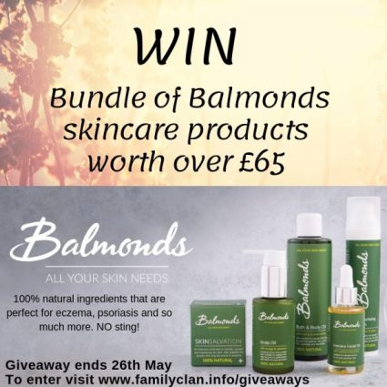 Win a Bundle of Balmonds skin products Worth over £65 Family Clan