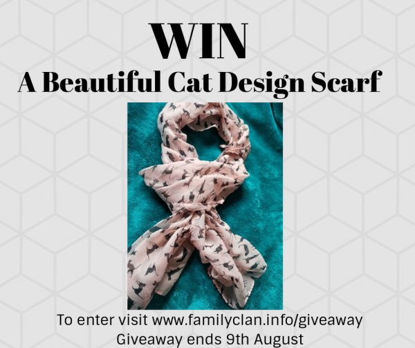 Win a beautiful cat print scarf Family Clan