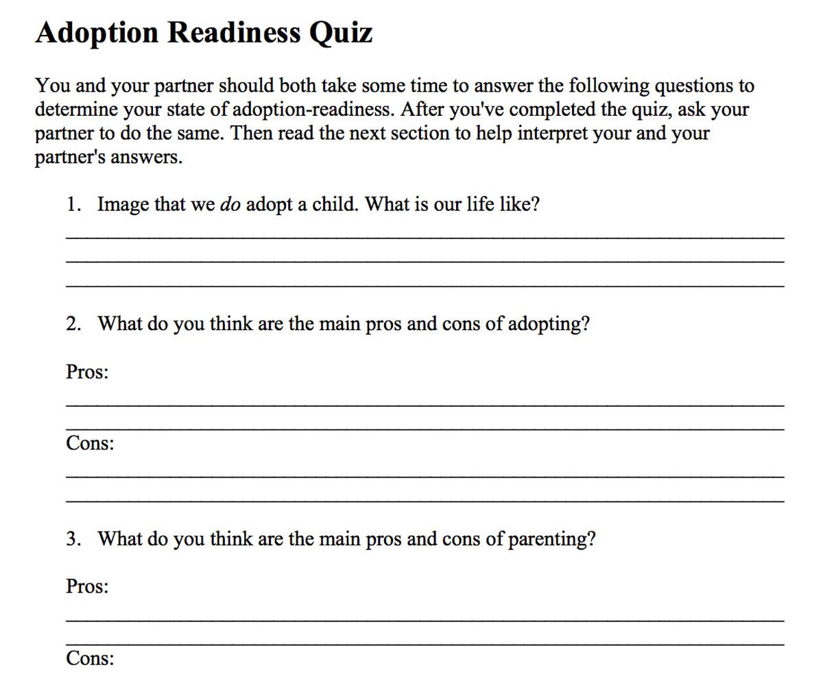 Preparing For Adoption Printable